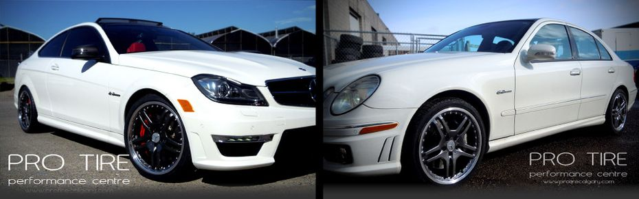 custom tires on white coup and white sedan