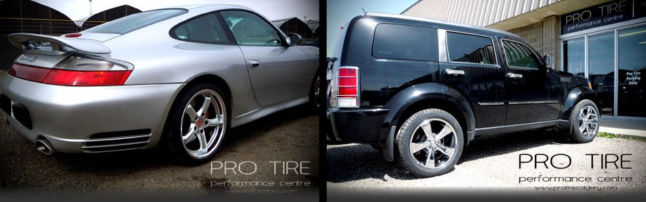 custom tires on silver Porsche and black SUV